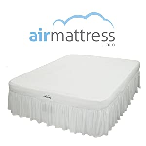 Air Mattress with Hypoallergenic Bamboo Bed Sheet/Skirt and High Capacity Air Bed Pump