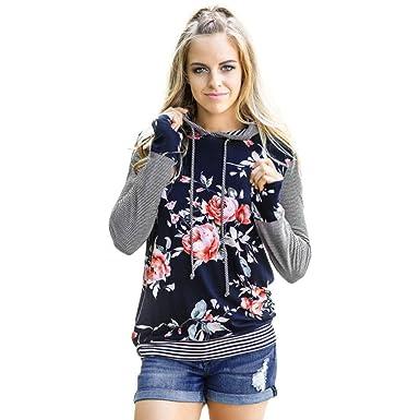 84722d8e8526ca Moginp 2017 Fashion Autumn Winter Hoodie Women Floral Striped Long Sleeve  Shirt Loose Blouse Tops Hooded Sweatshirt Made  Amazon.co.uk  Clothing