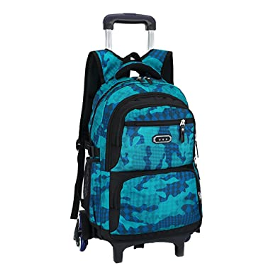 Fanci Flora Camo Waterproof Elementary Rolling Trolley School Bag Backpack  for Boys Camouflage Wheeled Backpack Carry 341209efa45cd