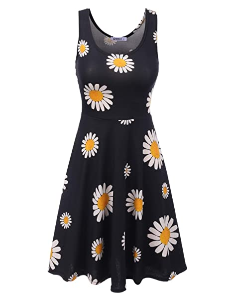 2cbf57bf8e Doublju Midi Dress Party Flare Tank Skater Dress for Women with Plus Size  BLACKDAISY Small