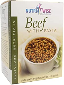 NutriWise - Beef with Pasta Soup | 16g High Protein | Healthy Nutritious Diet Soup | Low Carb - Low Calorie - Fat Free (7 Count)