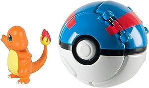 DVNBS Pokemon Throw 'N' Pop Poke Ball with Pokemon Action Figures Pokemon Toys for Kids (Charmander and Great Ball)