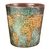 Haoun Retro Wastebasket, Waterproof Paper Basket Trash Can Large Dustbin Luxury Garbage Bin European Style PU Leather - Green