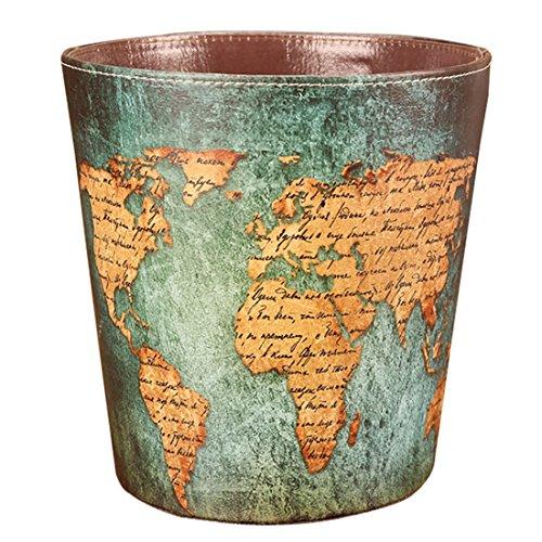 Retro Wastebasket,Haoun Waterproof Paper Basket Trash Can Large Dustbin Luxury Garbage Bin European Style PU Leather - - Fabric Woven Leather
