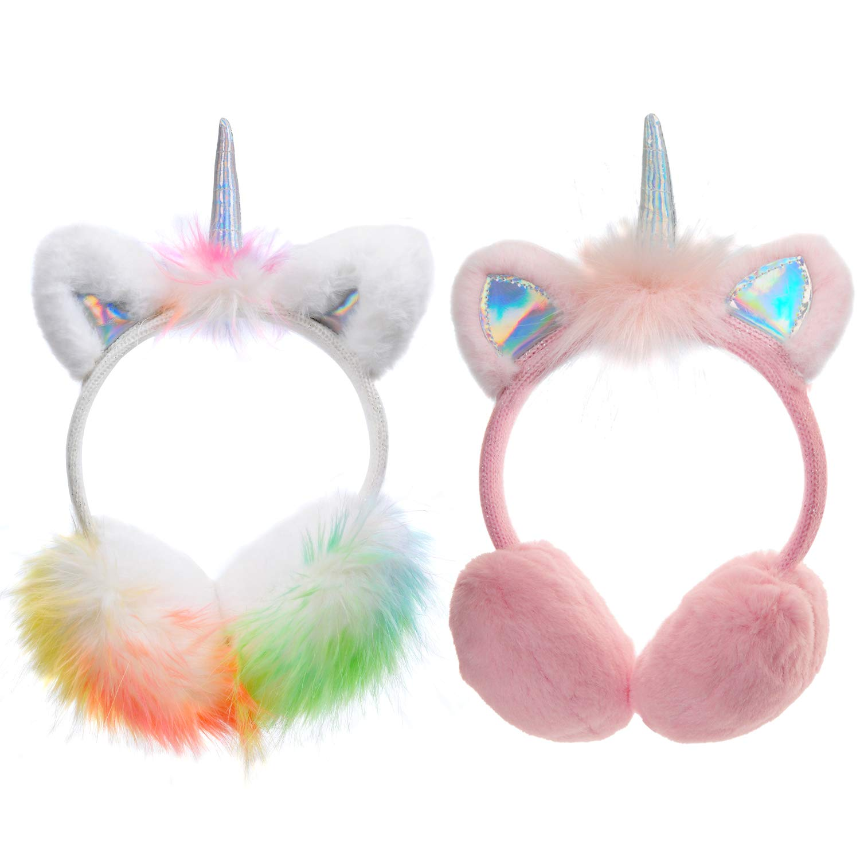 2-Pack Kids Girls Unicorn Horn Fleece Earmuffs Earwarmer Adjustable Winter Ear Muffs for Children 3-14 Years