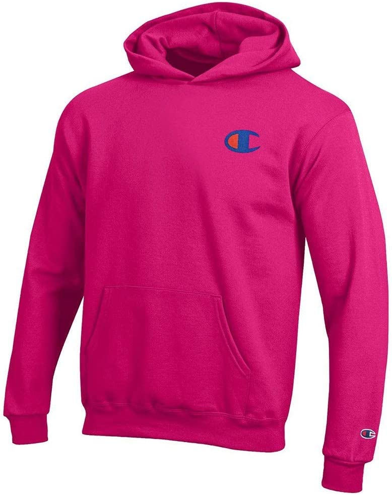 Champion Reverse Weave Logo Youth Powerblend Pullover Hoodie Knockout Pink