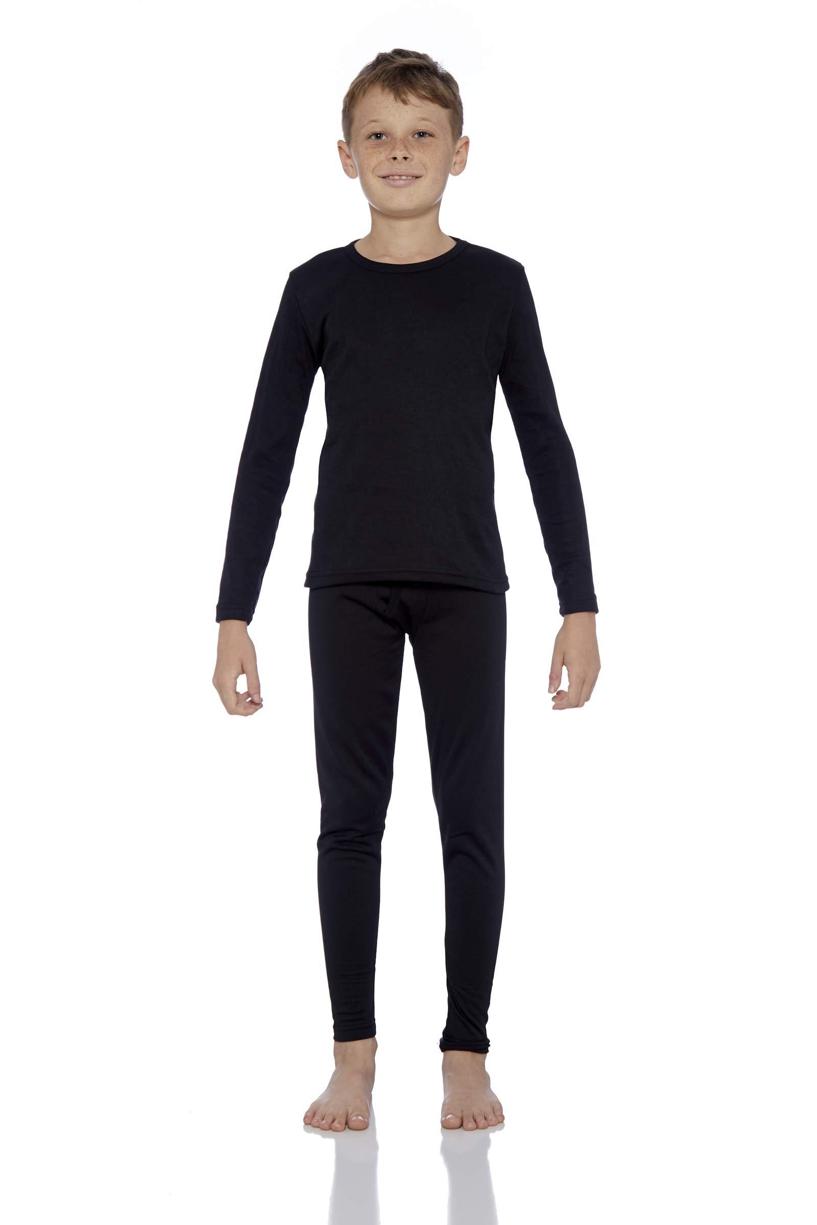 Rocky Boy's Fleece Lined Thermal Underwear 2PC Set Long John Top and Bottom (L, Black)