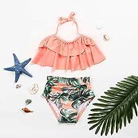 boxiangxu Swimwear Girls Two-piece Swimsuit Kids Children Ruffle Print Bandage Swimwear Swimsuit Bikini Set Clothing