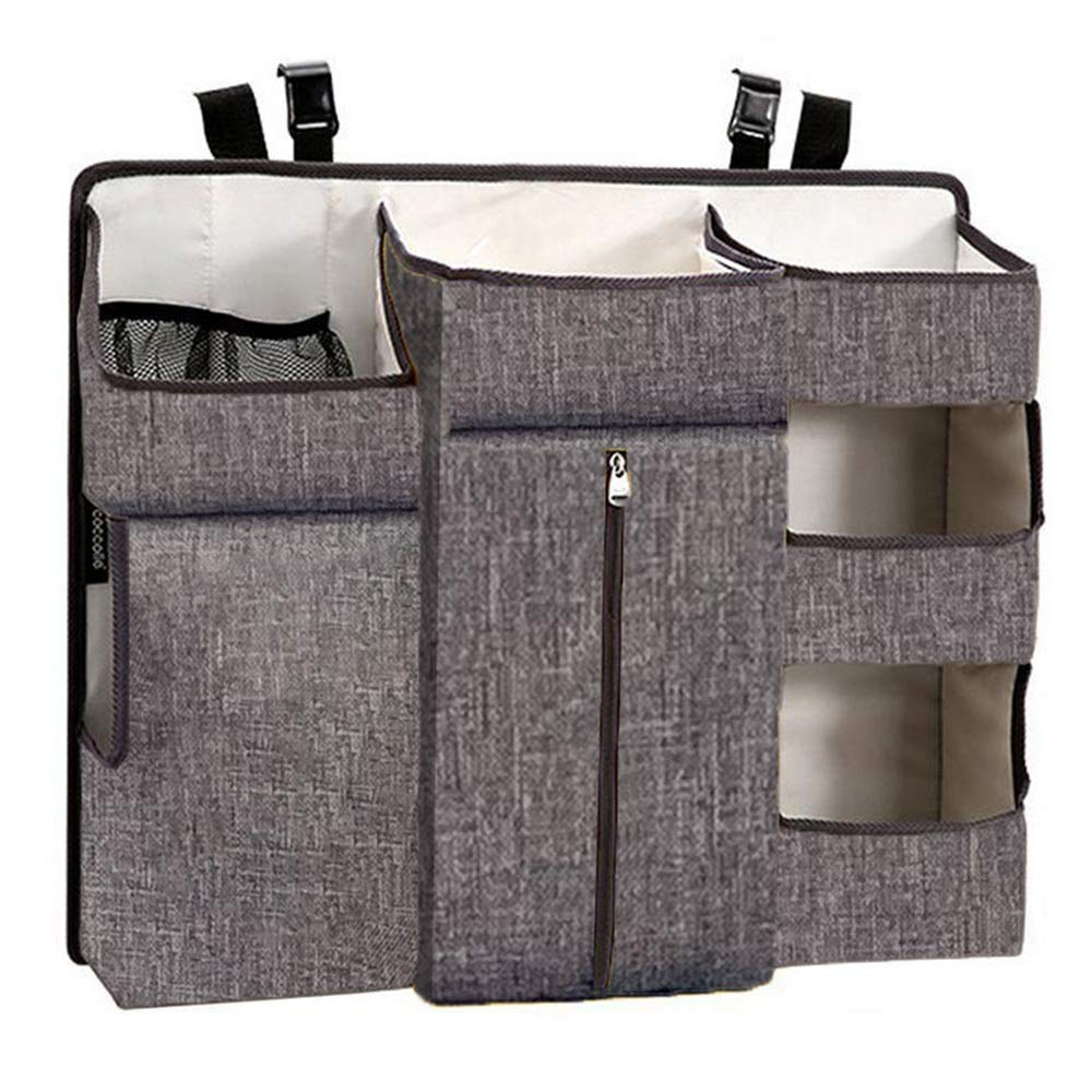 Bed Hanging Organizer Baby Nursery Organizer and Diaper Caddy Organizer, Hanging Changing Table Diaper Stacker for Crib Storage for Baby Cot Bunk Bed (Color : Gray, Size : 60X50X12CM) by Gralet-home