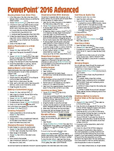 Powerpoint Quick Reference Card (Microsoft PowerPoint 2016 Advanced Quick Reference Guide - Windows Version (Cheat Sheet of Instructions, Tips & Shortcuts - Laminated Card))