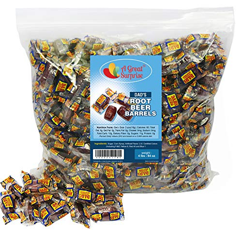 Dad's Root Beer Barrels - Washburn Hard Old Fashioned Candy Individually Wrapped, 4 LB Bulk (Old Fashioned Halloween)