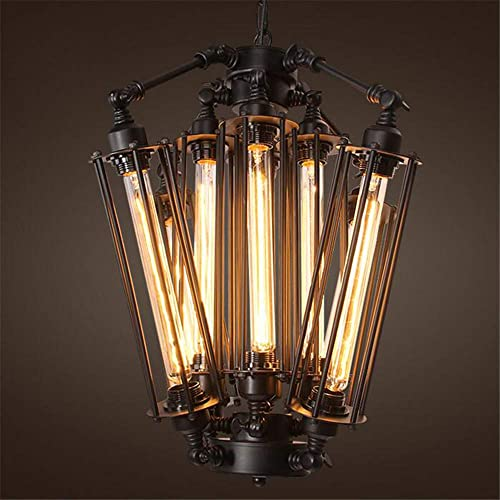 MoreChange Industrial Retro Chandelier Light Vintage Steampunk Ceiling Hanging Lighting Fixtures Loft Lamp Black Cage