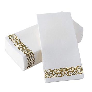 Toyvian Papierservietten 50er Pack Golden Floral Bedruckte