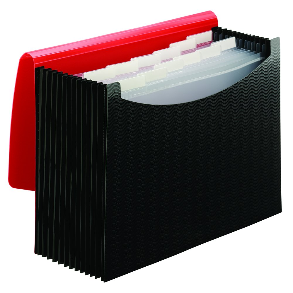 Smead Expanding File, 12 Pockets, Elastic Closure, Letter Size, Wave Pattern Red/Black (70866)