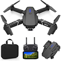 Foldable Mini Drone with 4K Double HD Camera Dual Lens 2.4G WiFi FPV RC Quadcopter (Black) Gesture Control with Carry…