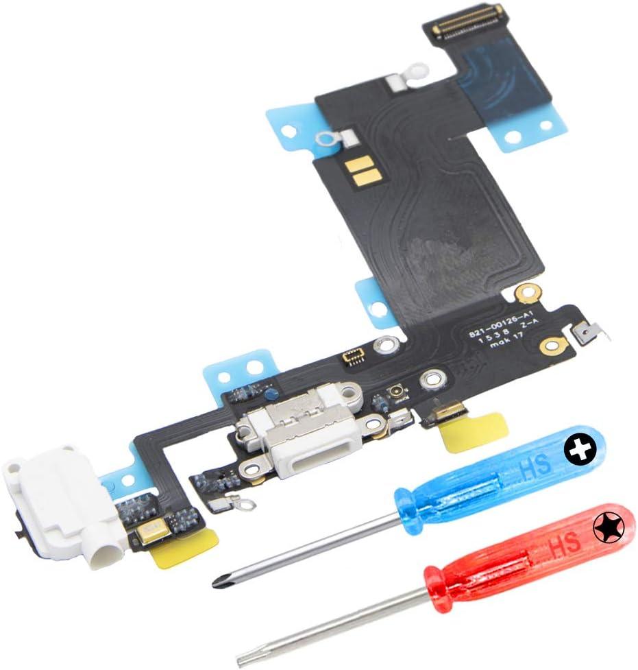 MMOBIEL Repuesto Conector Dock de Carga Compatible con iPhone 6S Plus (Blanco), Incl. 2 X Destornilladores