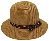 Sun Hats for Women, Woven Floppy Beach Woven Summer Spring Straw Hat - Many Colors & Styles (Stitched Ribbon - Brown, 1 Pack)
