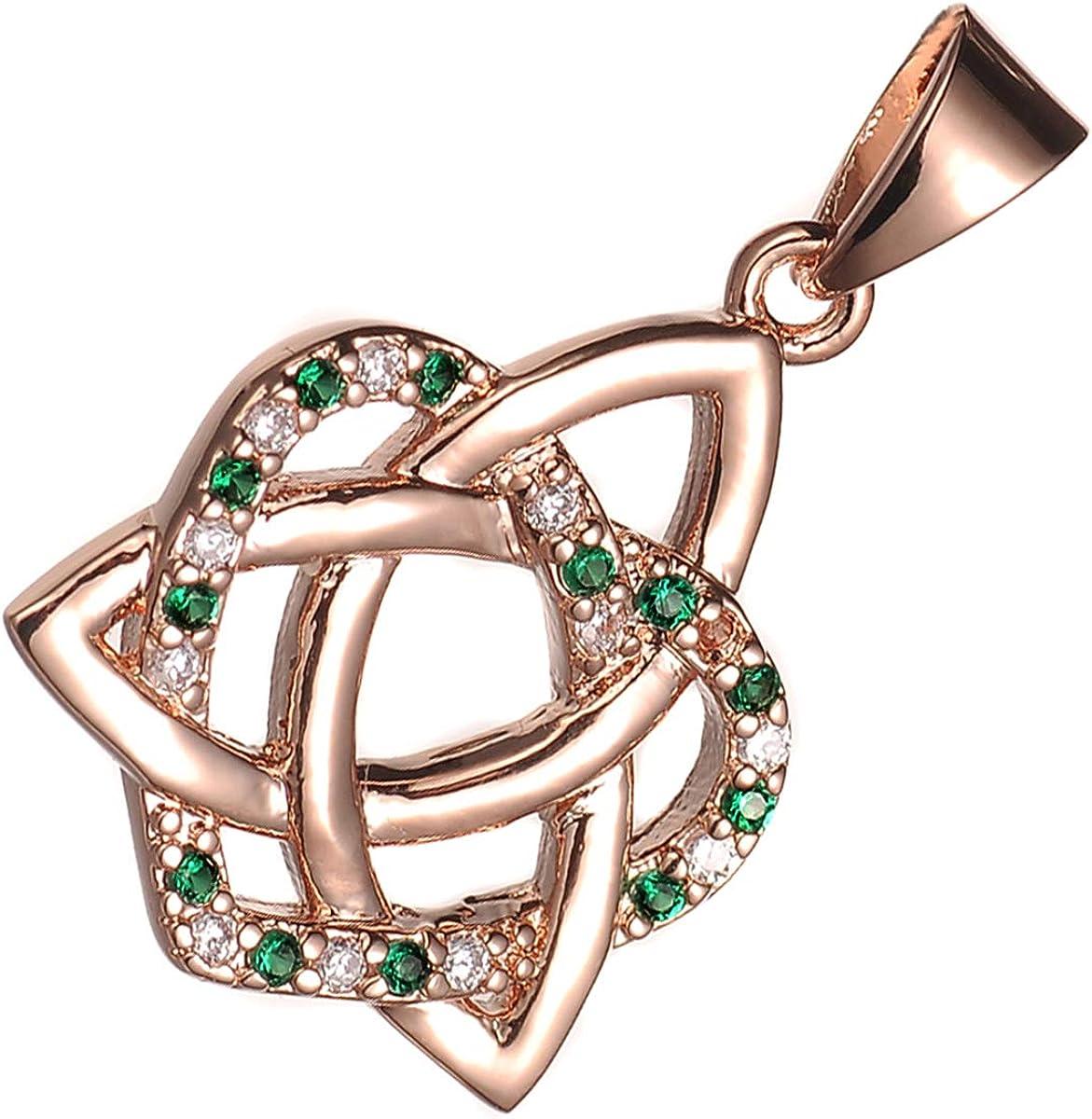 GWG Jewellery Collares Mujer Regalo Collar con Colgante, Chapado en Oro Rosa 18K Triqueta Celta de Trinidad Adornada con Circonitas Colorados y Entrelazada con Corazón para Mujeres
