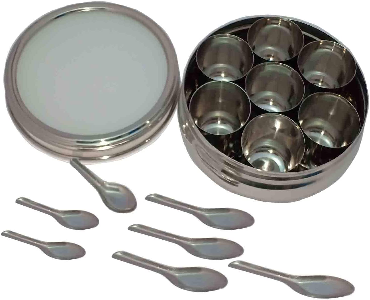 7 Compartments stainless steel spice box indian masala dabba Stainless Steel Masala Dabba Spice Container Box with 7 Spoons Kitchen Spice Box Spice Box G/&D Masala Dabba Transparent Lid masala box