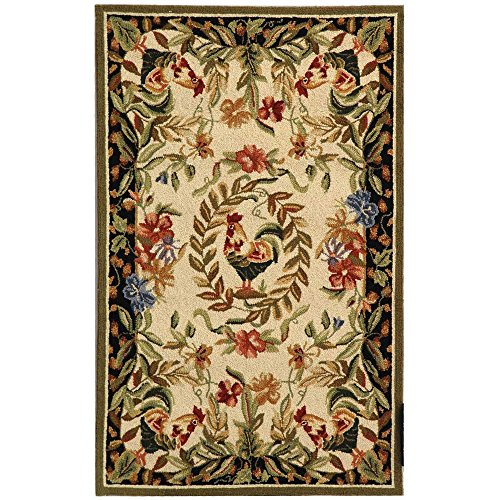 Safavieh Chelsea Collection HK92A Hand-Hooked Cream and Black Premium Wool Area Rug (2'6