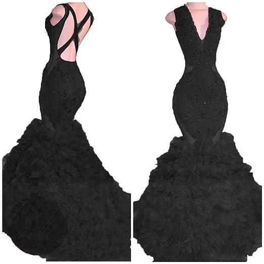 Sob V Neck Beaded Mermaid Prom Dress 2018 Long Sexy Backless Ruffles
