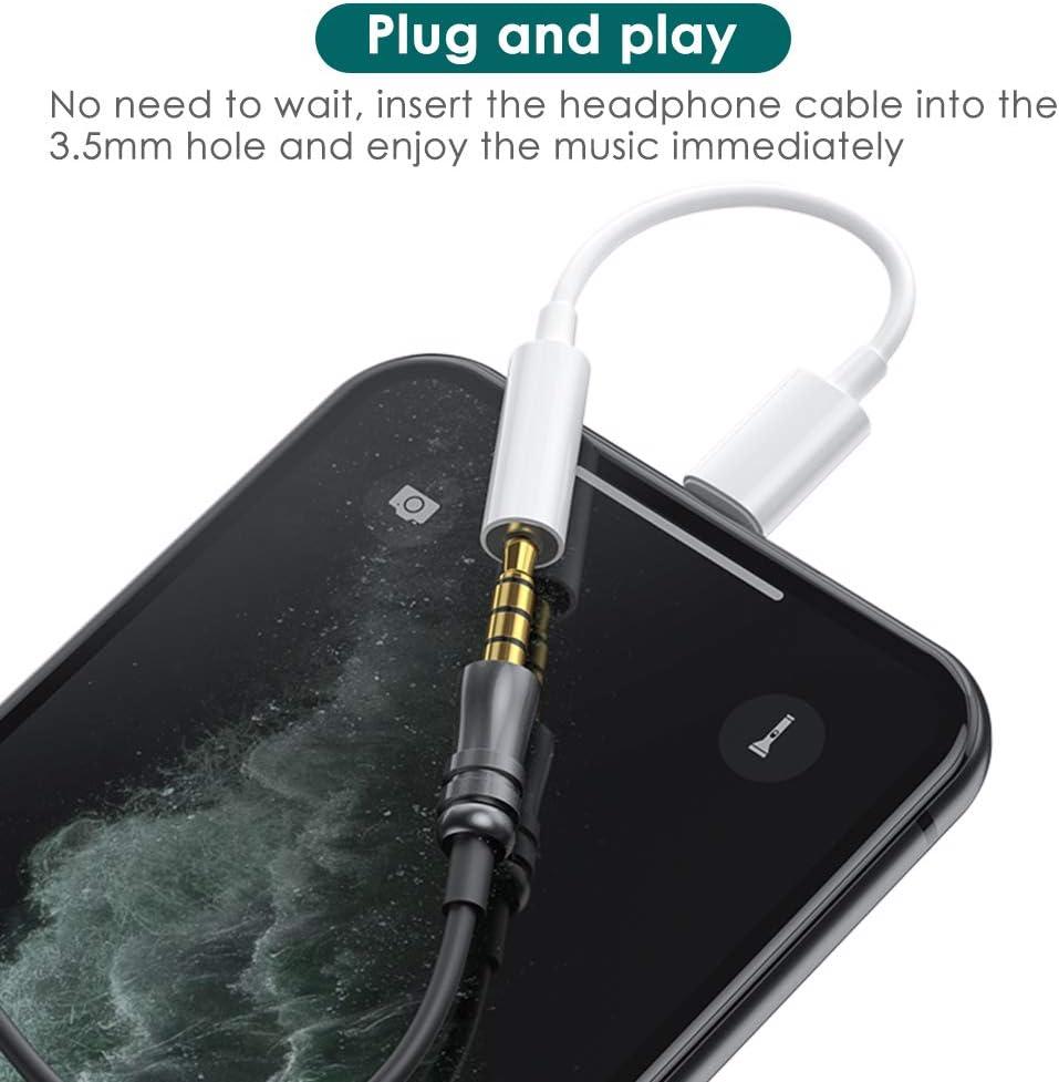 Adaptateur Casque pour iPhone Audio Charge Splitter 3,5 mm Convertisseur dadh/érent Prise Jack 3,5 mm Audio C/âble pour iPhone 7//7Plus//8//8Plus//X//Xr//11//11Pro//11Pro Max Tous Les syst/èmes iOS Blanc
