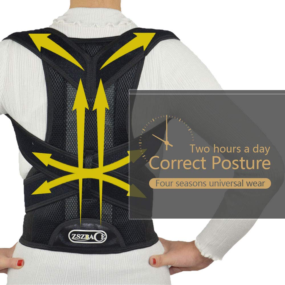 Posture Corrector for Women & Men, Adjustable Back Brace & Shoulder Support Body Shaper Improves Posture and Provides Lumbar Back Brace| Lower and Upper Back Pain Relief (M) by brandless