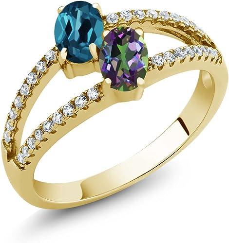 Gem Stone King 1.41 Ct London Blue Topaz Rhodolite Garnet 18K Yellow Gold Plated Silver Ring