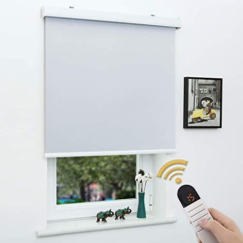 SUNFREE Motorized Roller Shades 100 Blackout Roller Shades Wireless Rechargeable Shades Remote Control Window Shade