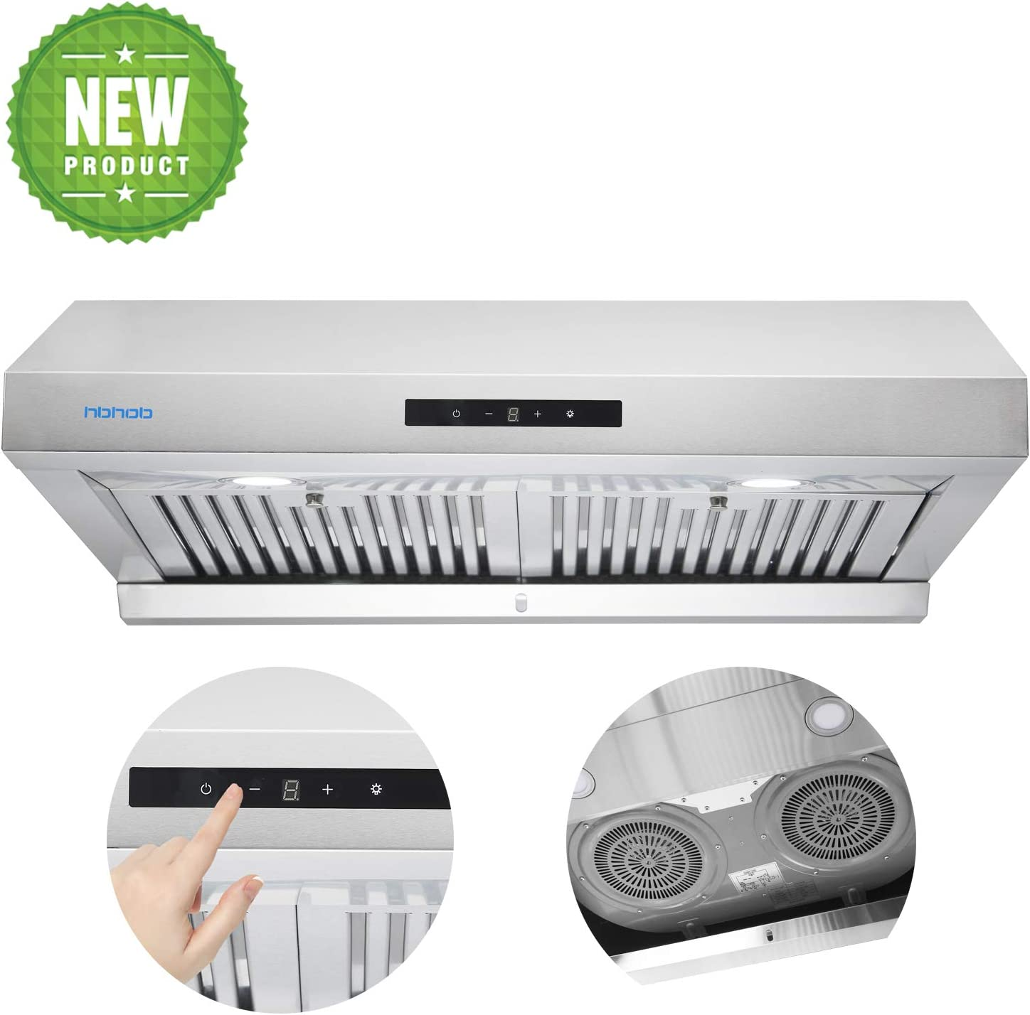30-in Under-Cabinet Stainless Steel Range Hood, Touch Screen,3 Speed Exhaust, With LED Light, Super Suction 950 CFM, Reusable Filter (Stainless Steel), Kitchen Stove Vent