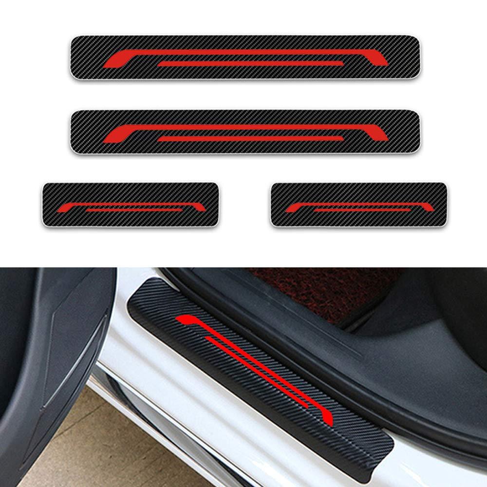 For Celerio Alto Jimny S-Cross Swift SX4 Vitara Door Sill Protector,Kick Plates Pedal Threshold Cover Carbon Fiber Sticker Anti-Scratch Anti-Slip Car Styling 4Pcs Blue