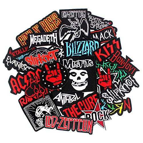 (25pcs Bank Rock Music Patches Mixed Band Rock Music Patches Embroidered Badge Punk Hippie Clothes Stickers Iron on for Clothes Jacket Jeans Applique)