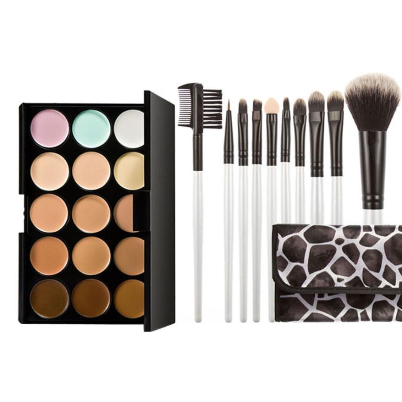 Concealer ensemble, Sansee 15 couleurs Pro Makeup Concealer crème cosmétique Palette + 10pcs Brush (#C)