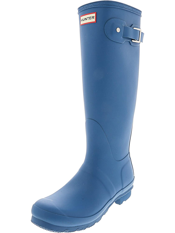 8M Hunter Womens Original Tall Knee-High Rubber Rain Boot Matte Ocean Blue