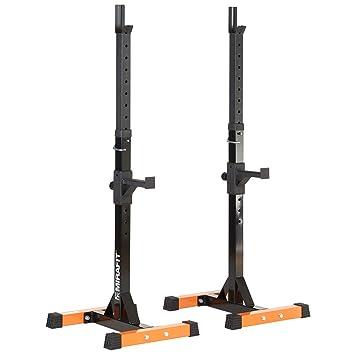 Soporte regulable para barras de pesas Mirafit con reposabarras