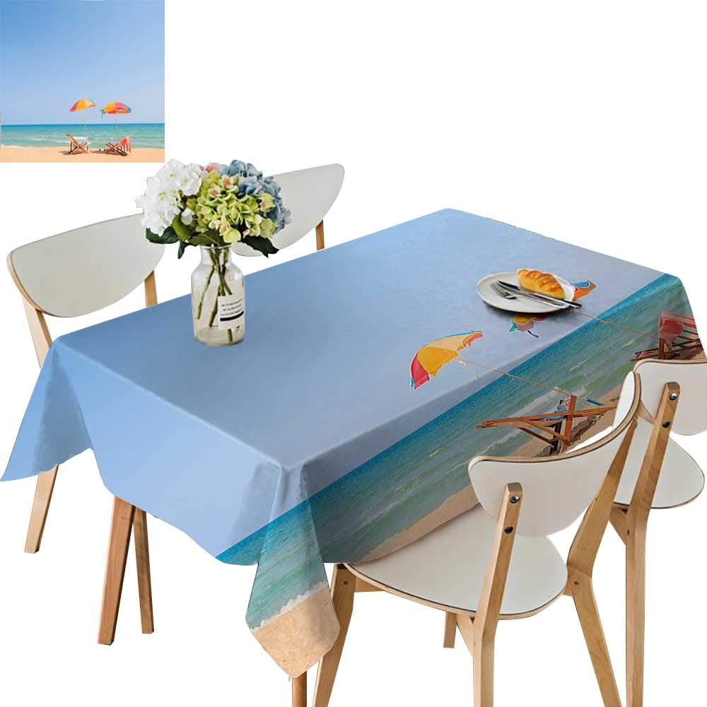 UHOO2018 Decorative Tablecloth Beach Chair Umbrella on Beach Leisure Tourist Attractions Decorative Photo Turquoise Beige Square/Rectangle Kitchen Tablecloth Picnic Cloth,52x 52 inch