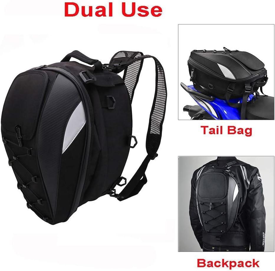 Schwarz Nrpfell Motorrad Sattel Tasche Heck Tasche Dual Use Motorrad Rucksack wasserdichte PU Gep?Ck Taschen Motorrad Helm Tasche Aufbewahrungs Taschen