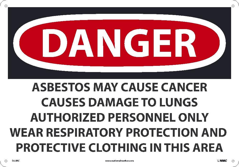 14 Inches x 20Inches May Cause Cancer Causes Only Wear Respiratory Protection D23RC National Marker Danger Asbestos Sign Rigid Plastic