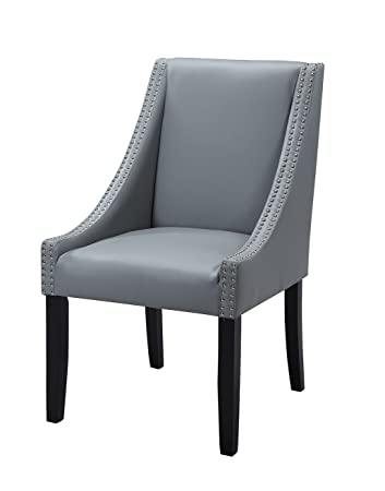 Amazon Com Lincoln Modern Grey Leather Silver Nailhead Trim