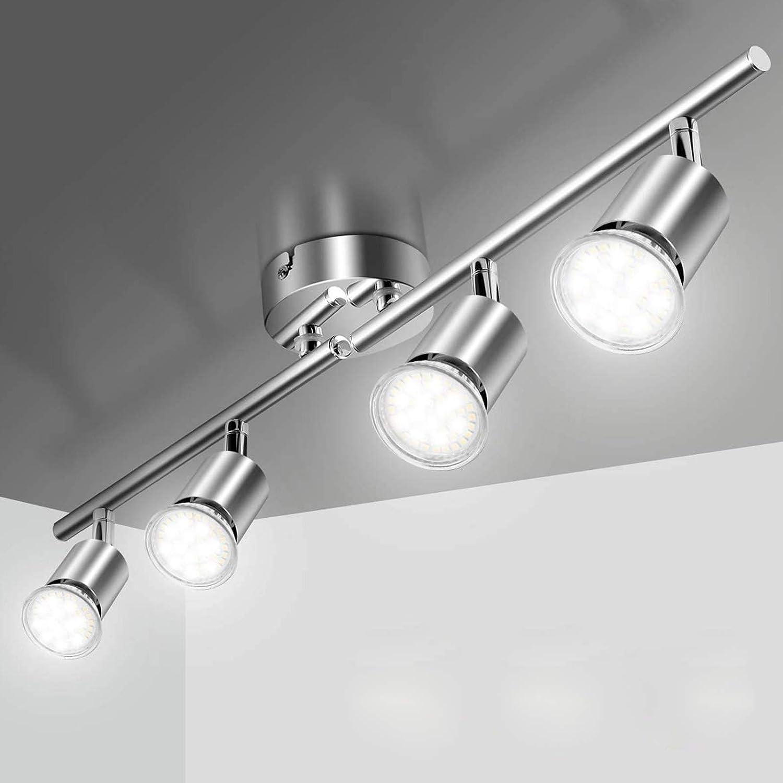 Elfeland Deckenlampe Led Deckenleuchte Schwenkbar inkl. 4 x GU10 Fassungen Deckenstrahler Spotbalken Wohnzimmerlampe Drehbar 230V Spotleuchte für Küche Wohnzimmer Schlafzimmer (ohne Lichtquelle): Amazon.de: Beleuchtung -