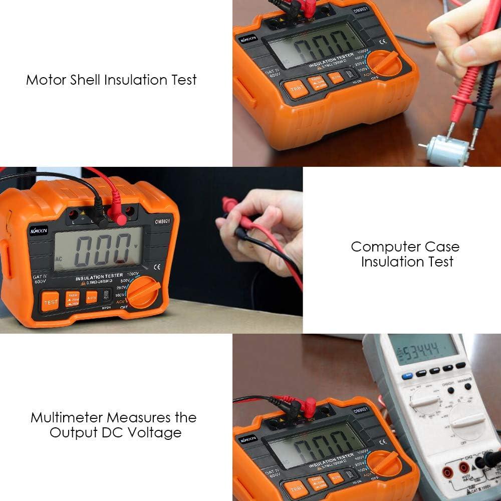 Insulation Resistance Tester Dcv Acv Measuring Device 1000V Ground Megohmmeter Megohm Voltmeter with LCD Backlight Fesjoy Insulation Tester