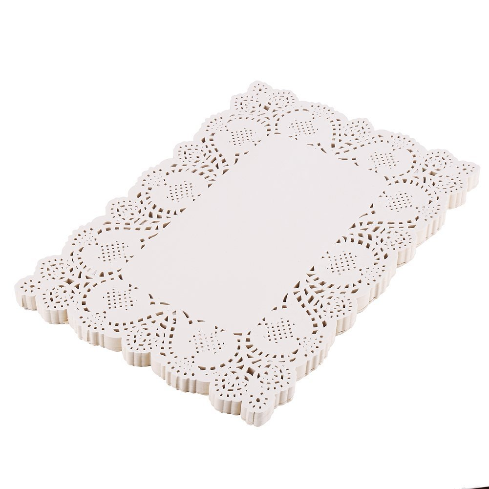 DECORA 200 Pieces White Rectangle Lace Paper Doilies Placemats for Wedding Tea Party and Baking 14x10 Inch