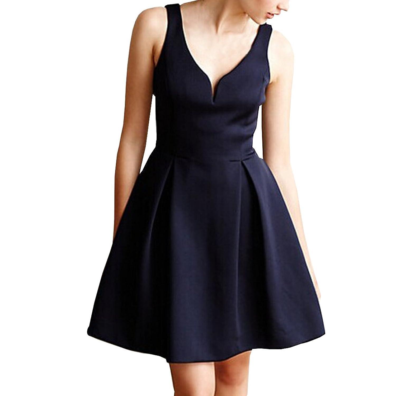Partiss Damen Frauen 60er Vintage V-Ausschnitt Klassisch Elegant Franzoesisch Stil Schleife Aermellos Knielang Kleid