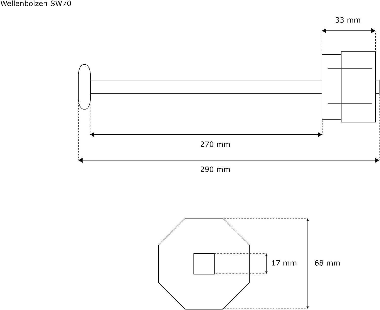 Achtkantwelle SW70 JAROLIFT Wellenbolzen f
