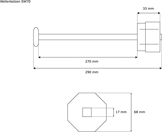 JAROLIFT Wellenbolzen f Achtkantwelle SW60