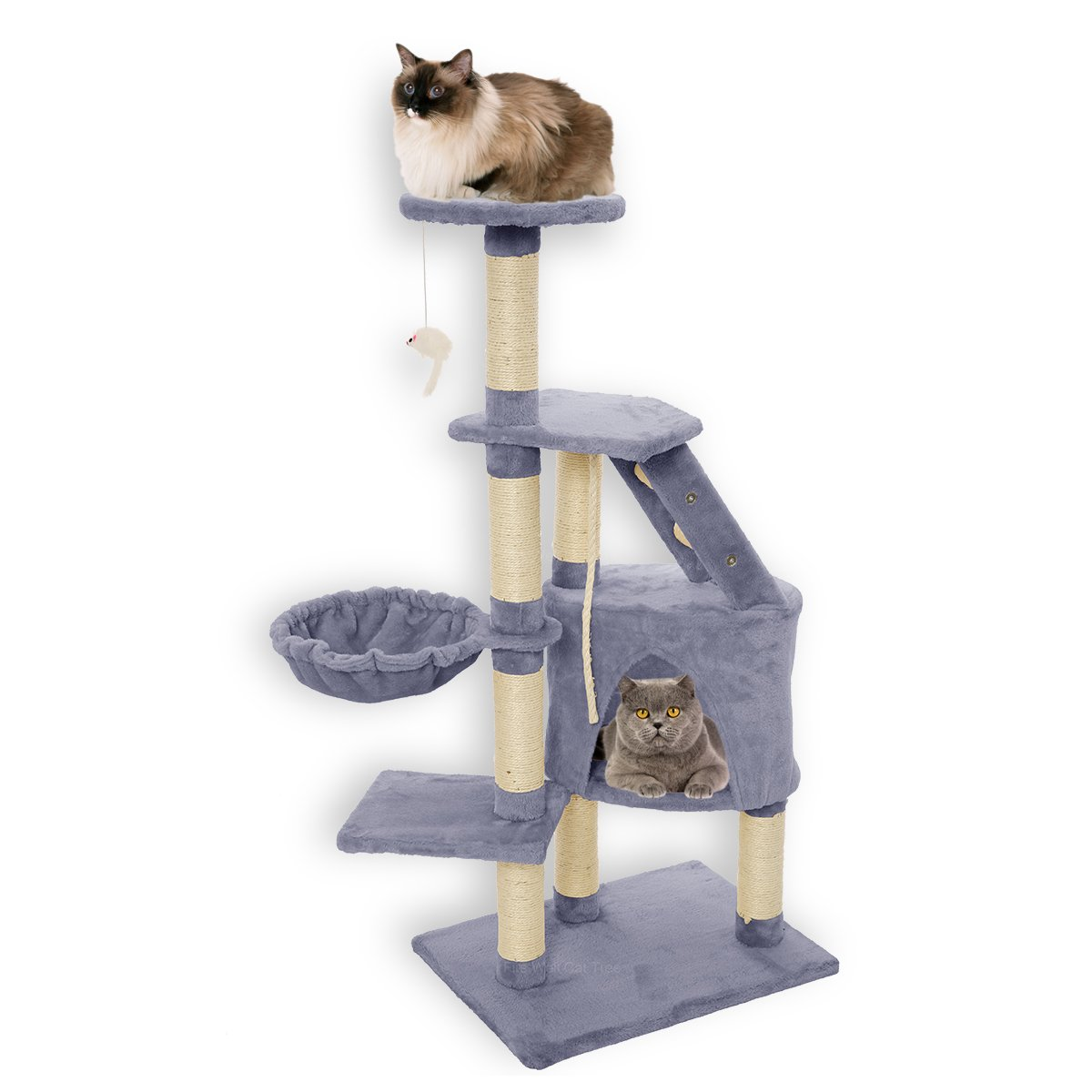 FirstWell Cat Trees - Kitty Condos Tower Furniture, Kitten Climb Stand, with Scratching Post, Natural Sisal Ropes, Hanging Toy, Perch, Nest, 47.25 Inches, Grey