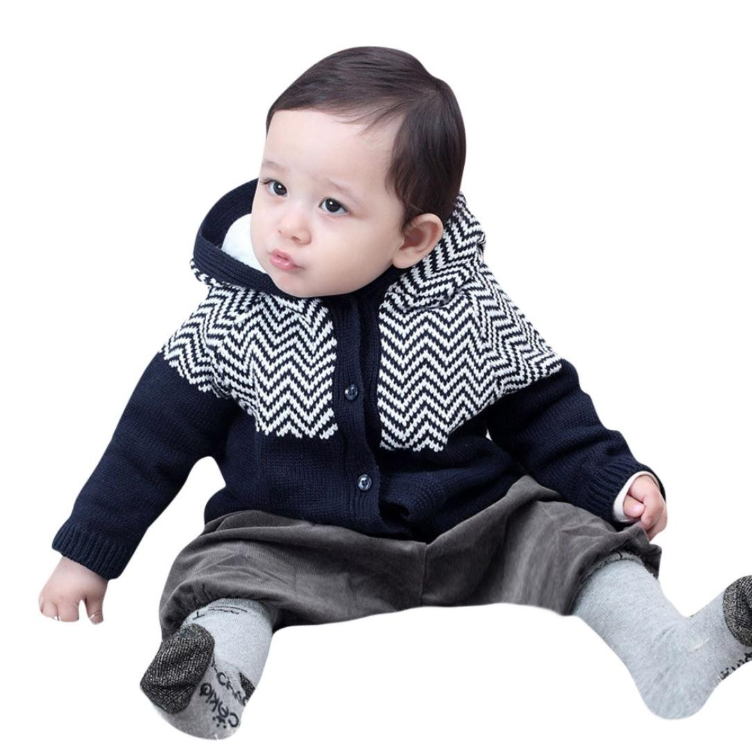 Odeer Toddler Baby Boys Girls Cardigan Button-up Cotton Coat Sweater (2T, Navy)