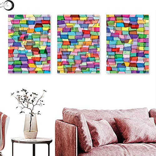 J Chief Sky Abstract Home Decor Mosaic Inspired Tile Pattern with Colorful Squares Cubes Energetic Artistic Design Wall Painting Multicolor Triptych Art Canvas W 20