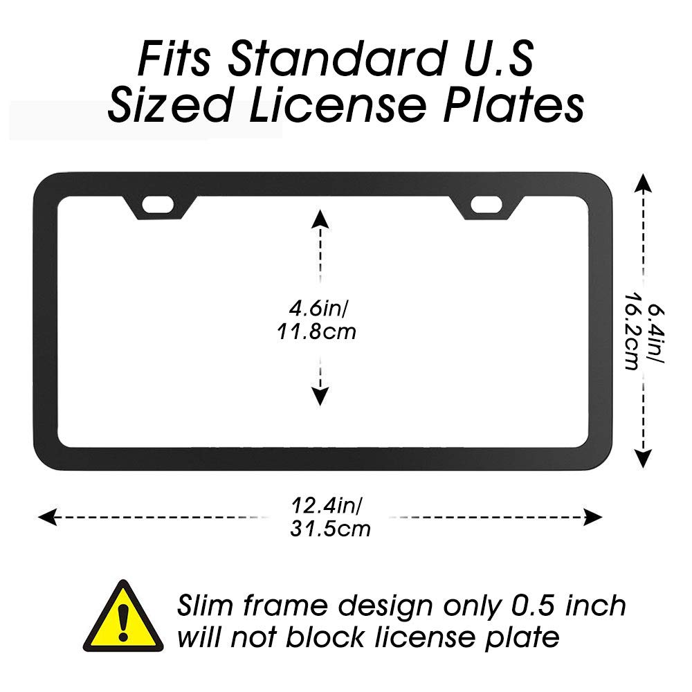 Slim Car License Plate Holders with Sponge Shock Pads for US Vehicles 2 PCS Matte Aluminum Powder Coated Licence Plate Covers with Screw Caps innislink Black License Plate Frame 2 Holes