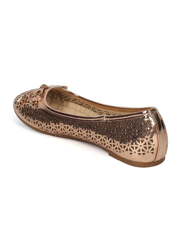 Alrisco Women Round Toe Bow Tie Perforated Ballet Flat HH88 B07D4719XT 9 B(M) US|Rose Gold Metallic